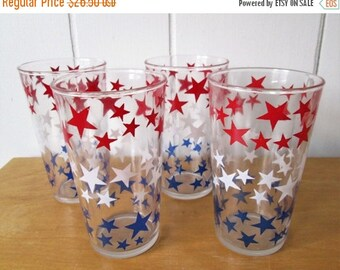 NEW ROOF SALE 4 vintage red white and blue star glasses