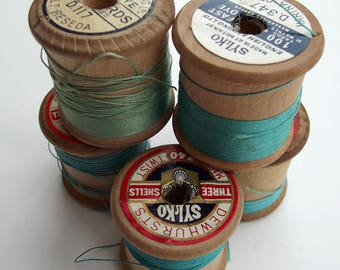 Vintage Greens Sewing Threads - instant collection - Craft Supplies
