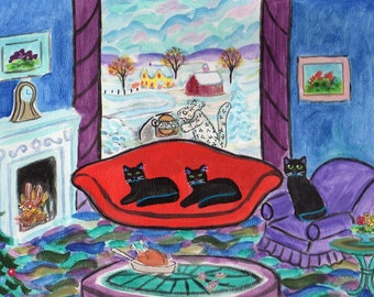 ORIGINAL PAINTING, Black Kitty Christmas, Chipmunks Roasting, Partridge Snow Leopard, D M Laughlin