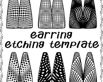 Digital Illusional Rectangle Pattern for Etching Earrings Download DT-favor-swa-1a