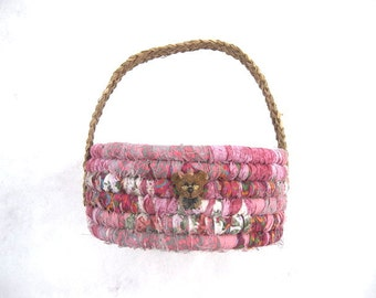 THE BEAR COLLECTION #4  Textile art Basket   Mama bear