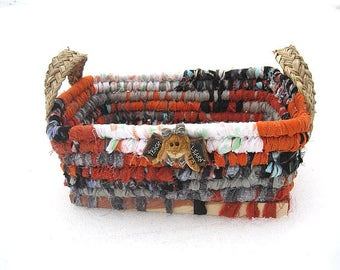 THE BEAR COLLECTION #6  Textile art Basket   Teacher Bunny