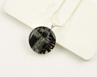 Circuit Board Necklace Dark Brown - Recycled Motherboard Jewelry - Circuit Board Jewelry - Science Jewelry