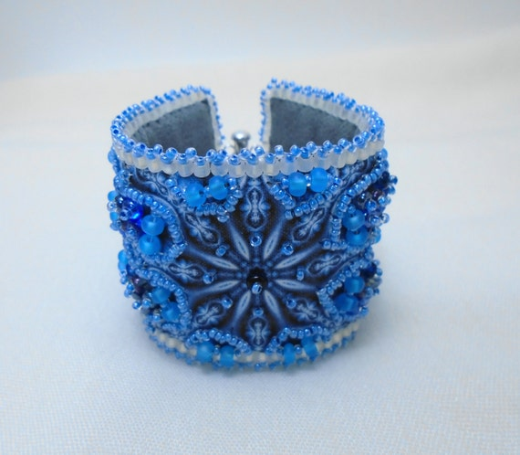 Beaded Blue Snowflake Wrist Cuff ~ for a small 6 inch wrist