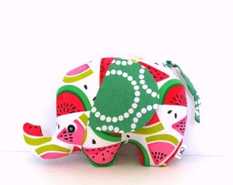 Watermelon Print Plush Elephant, Elephant Softie, Elephant Stuffie, Baby Girl Gift