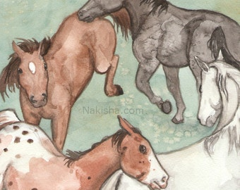 Original Art - The Wheel- Watercolor Horse Painting - Art from The Riderless Tarot