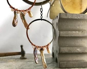 Pearl Hoop Earrings, Copper Hoop Earrings, Pearl Wire Wrapped Circle Mixed Metal Earrings, Mixed Metal Jewelry