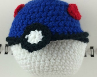 Crocheted Hinged Monster Catching Ball - Blue (large)