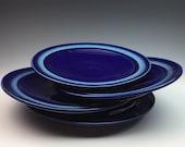 Ceramic Plates - Cobalt Blue Turquoise Pottery - Set of Four - Handmade Porcelain