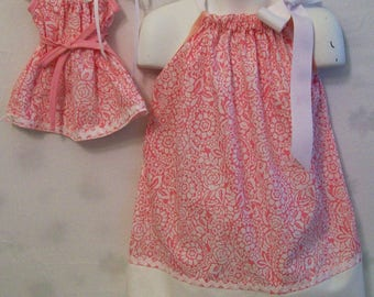 Pink Floral Dress, Pillowcase Dress, Girls & Doll Dress, Girls Dresses,  Doll Pillowcase Dress, Dolly and Me Dress, Made in the USA,,#172