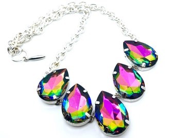 Rainbow Road Necklace - Pear Shaped Swarovski Crystal Statement Piece - w/ Rainbow Medium Vitrail Color Crystals