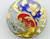 """Art Nouveau COLORFUL Enamel Button  Antique Victorian 7/8"""" inch Red Blue Yellow 3263"""
