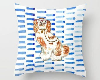 REDHEAD IN GLASSES - Right Facing Pillow 4 sizes -  (indoor and outdoor fabrics)