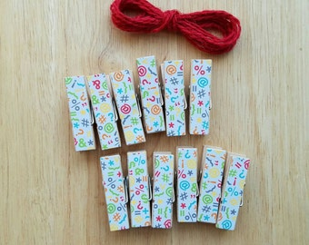 Punctuation Chunky Clothespins w Twine for Display - Little Wooden Clips Set of 12 - English Teacher
