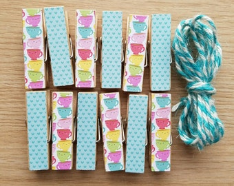 Rainbow Smiling Teacups Chunky Little Clothespin Clips w Twine for Display -  Set of 12 - Girl Baby Birthday - Coffee Shop