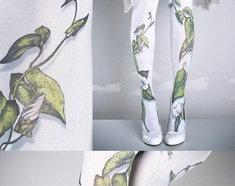SALE//17%off// Tattoo Tights -  Climber Plant white one size full length closed toe pantyhose tattoo socks ,printed tights