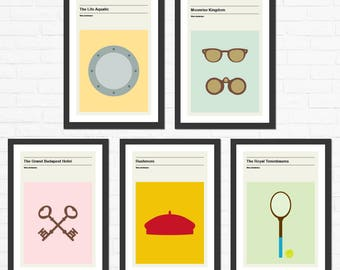 Set of 5 Wes Anderson, Minimalist Movie Posters