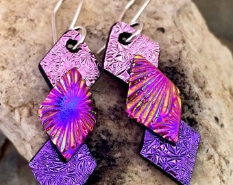 Pretty Dichroic Glass Earrings 3D Pink Purple