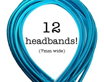 12 Turquoise satin headbands - skinny satin headbands in BULK