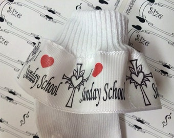 RUFFLE SOCKS  Infant Toddlers  Girls  Accessories I Love Heart Sunday School Church