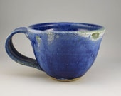 Bright Cobalt Blue and Green Accents Mug, Blue mug, Elegant Mug, Stoneware Mug, Gift Mug, Handmade Ceramic Mug, latte mug