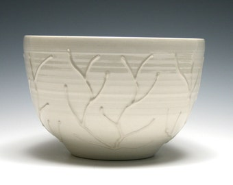 White Bowl, White Ceramic Bowl, Branch Design, Home Decor, Handmade Pottery