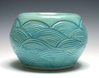 Turquoise Pottery Bowl, Scalloped Bowl, Blue Green Bowl, Handmade Ceramics, Home Decor