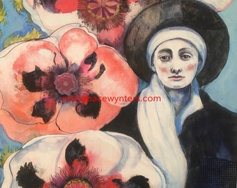 Georgia's Poppies- Original mixed media painting by Maria Pace-Wynters