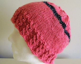 Knitted Rose Pink, Black Pony Tail, Messy Bun HAT Size Medium Adult, Kraemer Perfection Yarn, 77 acrylic, 23 domestic Merino, Beanie, Cables