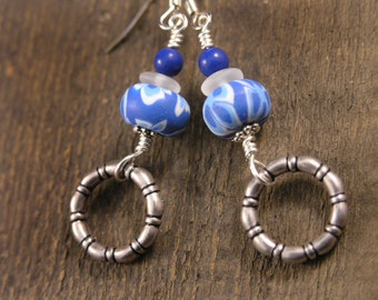 SALE Bright blue and white flower polymer clay beads, glass, stone handmade silver ring earrings