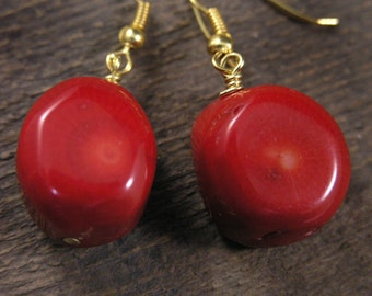 Red bamboo coral large beads and gold handmade earrings