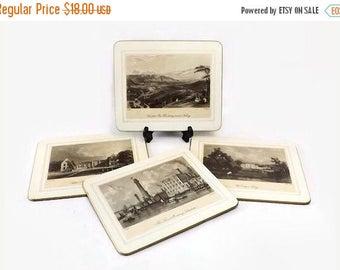 Hardboard Placemats, Saks Fifth Avenue, Set of 4, Victorian British Building Landscape Scenes, Vintage Place Mats, Made in England