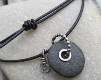 Mens Beach Stone Necklace Riveted Beach Stone Charm Necklace Silver Black Leather Mens Beach Stone Pendant Adjustable necklace Mens
