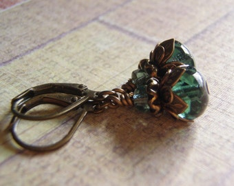 Tourmaline Green Earrings Antique Brass Lever Back Ear Wire 9 x 6 mm Glass