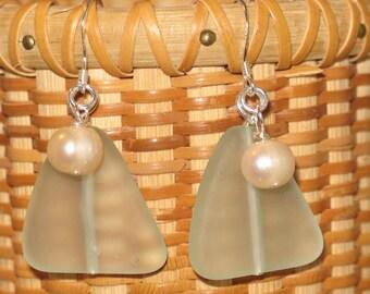 Sterling, Seaglass & Pearl Earrings//Beach Wedding Jewelry//Beach Earrings//June Birthday Gift