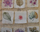 Collection of Stamped and Colored Fabric Squares