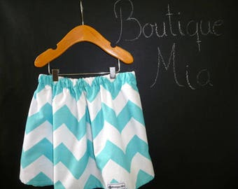 Sample SALE - Will fit Size 3T to 6yr - Ready to MAIL - SKIRT - Riley Blake - White and Aqua Chevron - by Boutique Mia