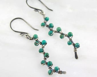 Turquoise Wrapped Silver Vine Earrings