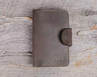 Personalized Leather memo book field notes journal cover Gift for Men Gift for Him Leather | Brown Stone