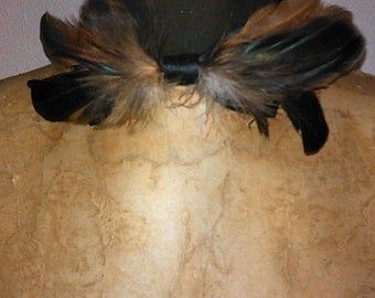 Holiday Father's Day Prom Multi-brown feather bow tie