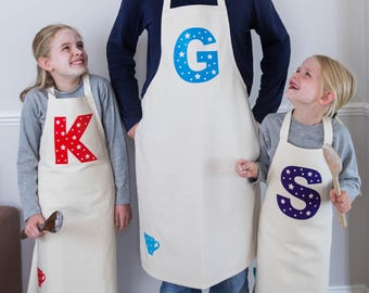 Personalised Letter Apron|Personalised kids Apron|personalised cooking apron|party favour|letter apron|personalised initial apron