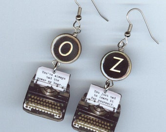 Typewriter Key Quote Earrings  - Wizard of Oz Glinda the good Witch- librarian literary readers bookish gift