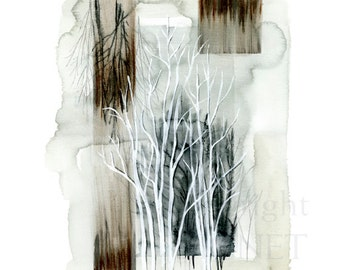 mixed media drawing of forest,  Fine Art Print, nature, semi abstract, gifts, decor, Upper Reaches I