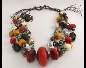 FAR EAST - Fab Mixed Tibetan Beads - Handmade Amber Resin Focals - 5 Strand Handknotted 1 of a Kind Necklace