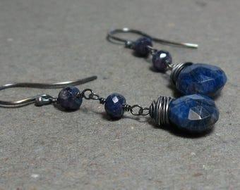 Blue Sapphire Earrings Long Dangle September Birthstone Oxidized Sterling Silver Earrings Gift for Her