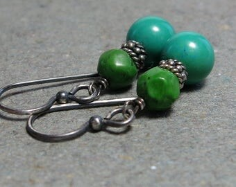 Blue Green Turquoise Earrings Sterling Silver December Birthstone Oxidized Earrings