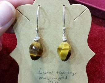 Sterling silver tiger's eye Ethiopian opal earrings
