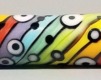 Wurvy Curvy Rainbow Skinny Mini Barrel--Handmade Lampwork Bead