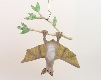 Vintage Inspired Spun Cotton Bat Ornament
