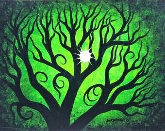 Tree painting, Green forest, Sun, Original acrylic painting by Jordanka Yaretz